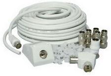 15m Kit de extensión para armar uno mismo de TV por Satélite Cable Coaxial Clips-ES101