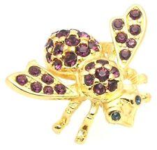 February Birthstone Crystal Bee Pin Joan Rivers Simulated Purple Amethyst
