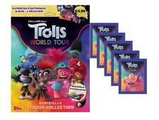 Topps Trolls World Tour Sticker Starteralbum + 5 Tüten Sticker & Stickerkarten