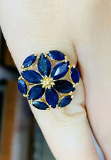 14k Solid Yellow Gold Cluster Ring with Natural Sapphire Marquise Cut4.02CT3.40G