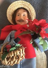 Gardener Mustached Man In Blue Denim Coat With Poinsettia Byers Choice 1997