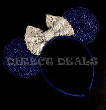 Minnie Mouse Beautiful Blue Ears Headband Big Silver Sequin Bow Costume Cute NEW