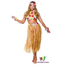 HAWAIIAN WOMAN FANCY DRESS GRASS HULA SKIRT BRA LEI LUAU SUMMER BEACH PARTY FUN