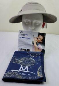 Mission Endura Cool Convertible Hat / Visor & Towel Lot - Beige Hat / Blue Towel