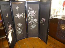 Antique CHINESE EMBROIDERY SILK 4 PANEL FOLDING SCREEN Oriental Bird Chinoiserie