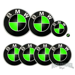 For BMW Badges - Neon Green & Black - All Models Decals Wrap Sticker Overlay