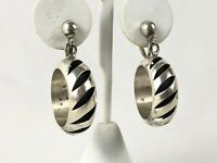 """Taxco Mexico Mid Century Modernist Sterling Silver PMH Screw Back Earrings 1.75"""""""