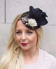 Black Gold Lace Feather Pillbox Hat Fascinator Hair Clip Vintage Races 40s 2658