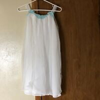 Vtg Lingerie Top Baby Doll Sheer Lace White Nightie Nightgown Small Flowy   D2