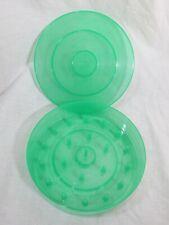 "Vintage T 00000492 idy Thread Box Round Green Plastic Sewing Spools Storage Box 6.5"" dia"