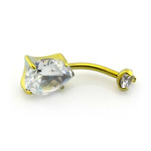 GOLD Belly Bar Made With Swarovski Crystals Tear Drop Shape Stone TITANIUM