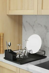 Black Dish Drainer Cutlery Dryer with Tray Kitchen Rack Plate Holder organizer