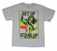 Bob Marley Get Up Heather Grey T Shirt New Official Adult Reggae Music Band