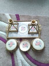 Beautiful Vintage Petit Point Brass & Embroidered Vanity/Dressing Table Set