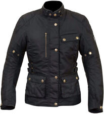 MERLIN CLOTHING Harriet Ladies Motorcycle Waxed Jacket Black Size X-Small MTP118