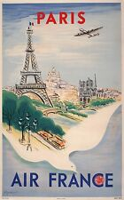 Original Vintage Travel Poster Air France Paris by Regis Manset 1947 Dove French