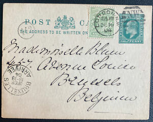 1904 London England Postcard Postal Stationery Cover To Bruxelles Belgium