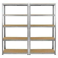 2 Galvanised Steel Racking Garage Storage Shelving 5 Tier Shelves 75cm Wide Bay
