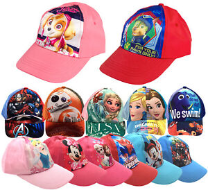 Kids Character Baseball Cap Adjustable Peaked Summer Hat Boys Girls
