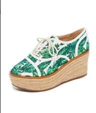 NEW Schutz Espadrille Wedge Leaf Tropical Print Canvas Lace Sneakers Sz 7.5 $240