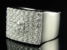 Mens White Gold Over .925 Sterling Silver Simulated Diamond Square Pinky Ring