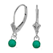 14k White Gold 5mm Round Genuine Emerald Lever-back Earrings