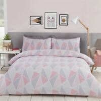 GEOMETRIC TRIANGLES PINK GREY WHITE COTTON BLEND DOUBLE DUVET COVER