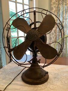 Antique GE Brass Blade Oscillating 12 inch Fan 159197 AOU WORKS