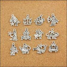 12Pcs Retro Mixed Zodiac Charm Pendants Dangle Beads For Jewelry Making Findings