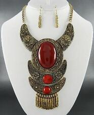 Burnish Ethnic Style Red Lucite Bead Necklace Earring