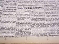 1940 OCT 14 NEW YORK TIMES - PRINCESS ELIZABETH 14, MAKES RADIO DEBUT - NT 2505