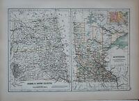 1897 ANTIQUE MAP UNITED STATES NORTH & SOUTH DAKOTA CODINGTON MINNESOTA WRIGHT