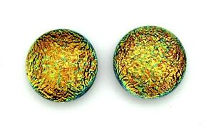 Pair (2 cabs):11mm-11.5mm round flat back no hole Dichroic Glass Cabochons RELEI