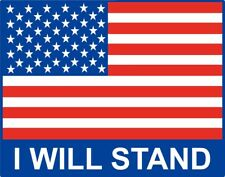 2 - American Flag USA, I Will Stand, Vinyl Sticker Decal, Veterans Truck window