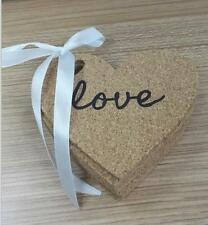Set of 10 Heart Shaped Cork Coasters with Love inscribed on them Wedding Bridal