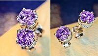 Women Men Stud Earrings 925 Sterling Silver Round Cut White Purple CZ Gift Box