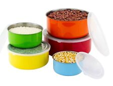 10 Pcs Colored Stainless Steel Mixing Bowls -Food Storage Containers Set w/ Lids