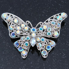 Avalaya AB Crystal Butterfly Brooch in Silver Tone - 55mm Across