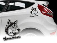 Aufkleber Siberian Husky  H395 Hundeaufkleber Wunschname Auto