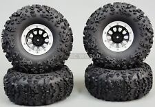 "Traxxas TRX-4 Rock CRAWLER  Beadlock Wheels & TIres 140mm 5.5""  Set Of 4  SILVER"