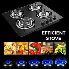 Lpg/Ng Gas Cooktop 4 Burners Built-in Stove Top Tempered Glass Surface Cooker Us