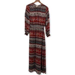 H&M Long Sleeve Boho Maxi Dress Size 4