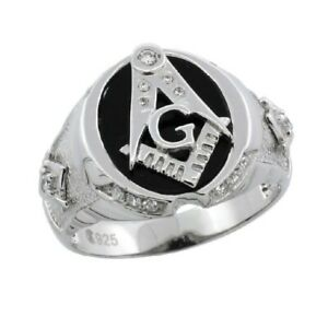 Men's Sterling Silver Black Onyx MASONIC Ring w/ CZ Stones & Textured Sides