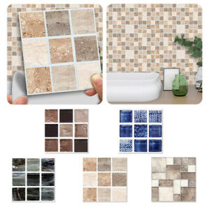 18/90x Mosaic Wall Tile Stickers Stick On Kitchen Wall Self-adhesive Bathroom UK
