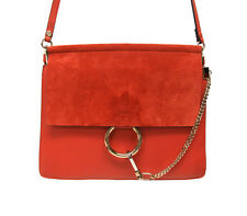 Brand New Chloe Faye Sepia Red Shoulder Leather & Suede Flop bag. Retails $1950