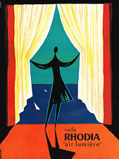 "PUBLICITE ADVERTISING  1959   RHODIA   rideaux voile ""AIR LUMIERE"" par BARLIER"