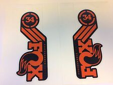 FOX 34MM Performance Series Fork Orange Left and Right Decals Set 34 Stickers