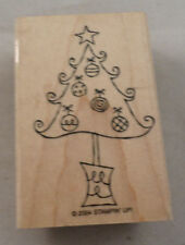 Stampin Up 2004 Holiday Christmas Tree With Ornaments  Wooden Rubber Stamp