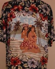 Vintage Kennington Hawaiian Hula Pin Up Girls Aloha Camp Floral Shirt Size XL
