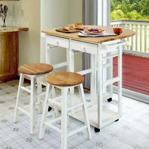 Ktaxon Kitchen Cart Island Rolling Home Dining Wooden Trolley Storage W/ 2 Stool